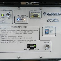 Close up of the Dogcatcher data logger with USB memory stick
