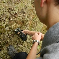 GT-32 measuring natural Gamma count of a rock outcrop.