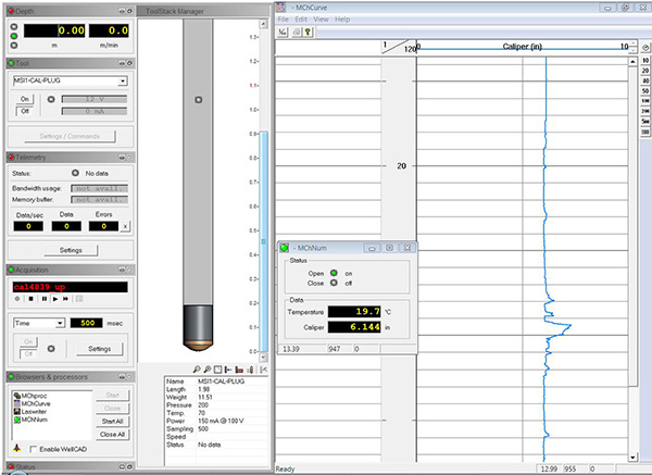Example of real-time Caliper log when recorded in MATRIX. Image courteous of Mount Sporis Instruments Inc.