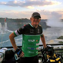 Tom Nicols - Picture shows Tom completing his solo cycle across North America, that's right from West to East coast!
